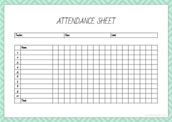 Set of 3 Attendance Sheets (10 students)