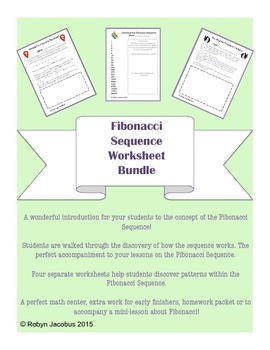 5th/6th/7th Math- Set of 4 Fibonacci Sequence Worksheets