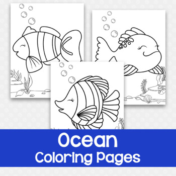 Set Of 3 Ocean Coloring Pages By Messy Little Monster Tpt