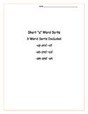 "Set of 3 Short ""a"" Word Sorts"