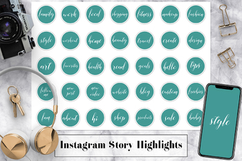 Set of 35 Instagram Icons, Teal Instagram Story Highlights Icons, Text Icons
