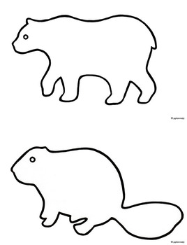 Set of 36 Black & White Outlines/Shadow Puppet Templates