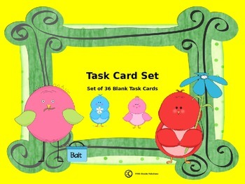 Set of 36 Blank Task Cards **For Personal Use Only**