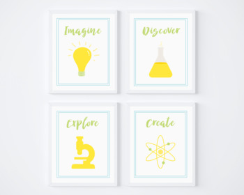 Set of 4 Bright Colorful Printable Science Posters