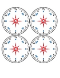 Set of 4 Geometry Time Protractor, Clock and Compass