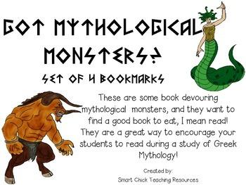 Set of 4 Greek Mythology Bookmarks ~ Reading Incentive FREEBIE