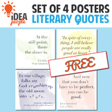 Set of 4 Literary Quote Posters, Beautiful Watercolor Style