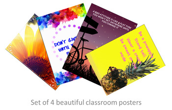 Set of 4 Motivational Positive Thinking Classroom Posters