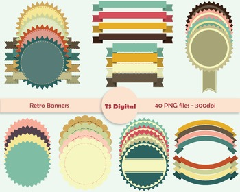 Set of 40 Retro banners clip art - round ribbon flower tag digital graphics