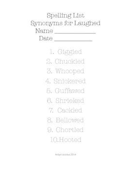 5th/6th/7th Grade ELA- Set of 45 Synonym Descriptive Language Spelling Lists
