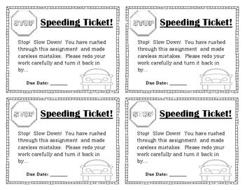 Set of 5 Classroom Management Slips: Speeding Ticket, No Homework, etc.