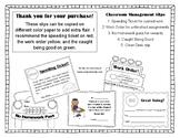 Set of 5 Classroom Management Slips: Speeding Ticket, No H