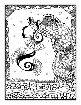 Set of 5 Coloring Pages for Stress Relief and Art