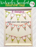 5 Separate Designs Flag Bunting Watercolor Cactus and Succulents Classroom Decor