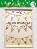5 Separate Designs Flag Bunting Watercolor Cactus and Succ