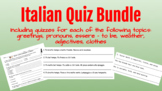 Set of 5 Italian Quizzes! Ready to print/use. Greetings, Essere, Weather & more!