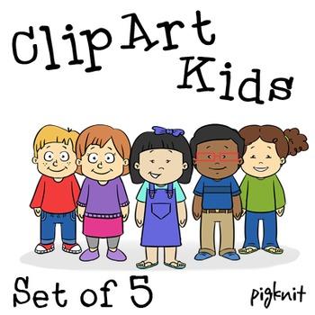 Set of 5 Kids Clip Art png, Cartoon Kids, Boy Clip Art Png, Girl Clip Art Png