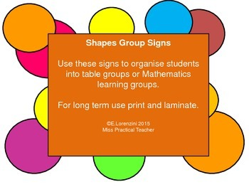 Set of 5 Shapes Group Signs