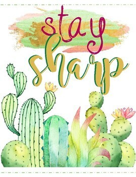 Set of 5 Watercolor Cactus and Succulents Motivational Classroom Posters Decor