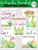 Set of 5 Watercolor Cactus and Succulents Motivational Cla