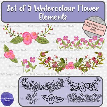 Set of 5 Watercolor Flower Clip Art Elements perfect for Mother's Day