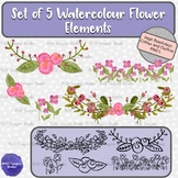 Set of 5 Watercolor Flower Clip Art Elements perfect for M