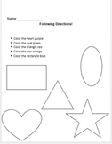 Set of 5 Worksheets. Following Written Directions.