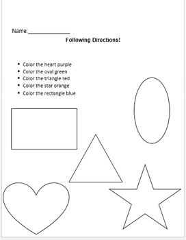 Valentine's Following Directions Coloring Worksheets by The Autism ... | 350x272