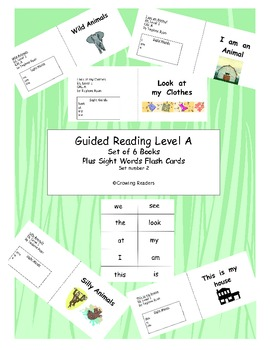 Set of 5 reproducible Guided Reading Level A books and flash cards