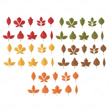 Set of 50 Autumn Leaves Clipart - Fall Leaves Clipart - Autumn Clip Art