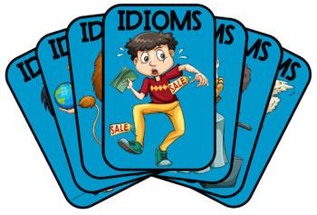 IDIOMS - A4 set of 50 Visual Flashcards - Set #1 (Blue) - PDF 2pp