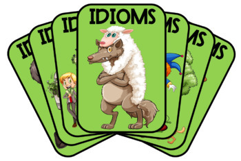 Idioms Flashcards - Set No.2 of 50 individual Idioms (green theme), A4 size