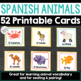 Set of 52 Spanish Animal Cards - Great for Seating and Pairing!