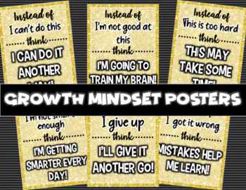 Set of 6 Growth Mindset Posters in Gold