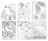 Set of 6 Hawaiian Inspired Coloring Pages for Stress Relief and Art