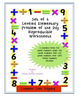 Set of 6 Leveled Elementary Number of the Day Reproducible Worksheets
