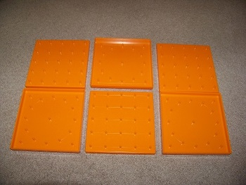 Set of 6 Orange Double Sided Geoboards - Square and Circle - Math Center