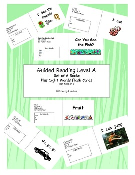Set of 6 reproducible Guided Reading Level A books and flash cards