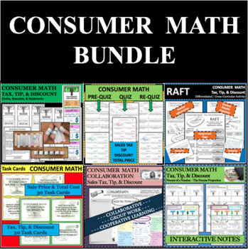 Set of 60 Consumer Math Sales Tax Discount Tip Total Cost Price Task Cards