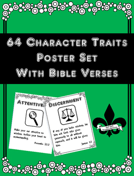 Set of 65 Character Trait  Posters with Bible Verses