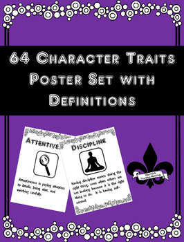 Set of 65 Character Trait  Posters with Definitions