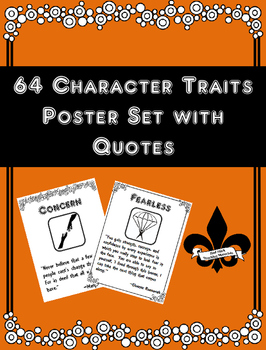 Set of 65 Character Trait  Posters with Quotes
