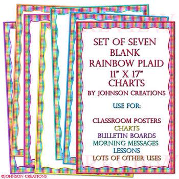 "Set of 7 Blank Rainbow Plaid  11"" x 17"" Charts"