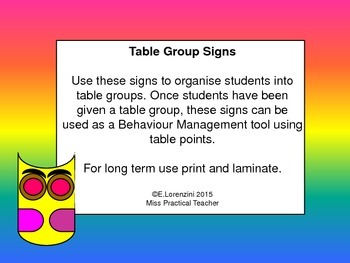 Set of 7 Table Group Signs