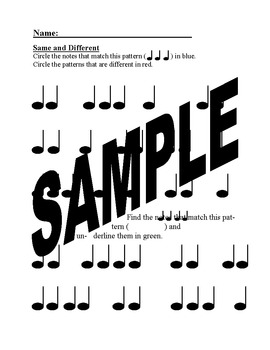 Set of 8 Printable Elementary Music Worksheets