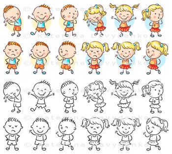 Set of Boy and Girl Characters with Different Emotions