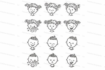 Set of Boy and Girl Faces with Different Emotions