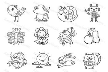 Set of Cartoon Elements for Kids Designs