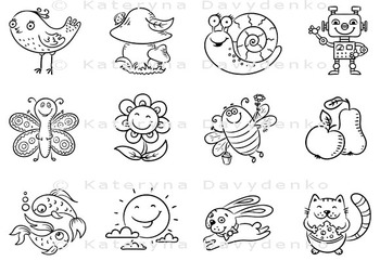Set of Cartoon Elements for Kids Designs