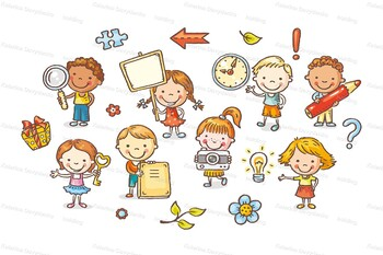 Set of Cartoon Kids Holding Different Objects